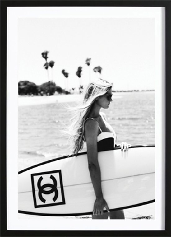 chanel surfboard poster wallified zwart wit print wall art interieur