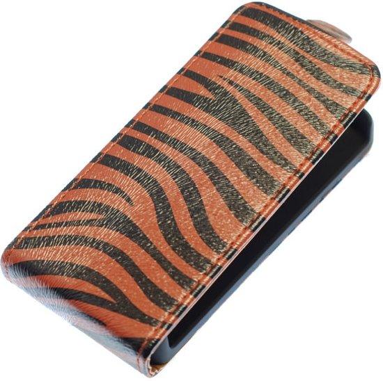 Donker Bruin Zebra Flip case hoesje voor Samsung Galaxy S Advance I9070