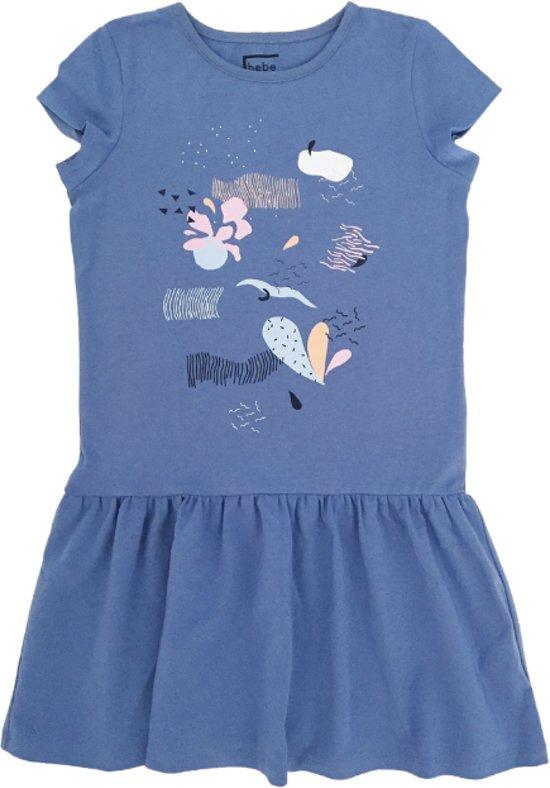 Hebe -  jurk - multicolor print - blauw - Maat 122/128