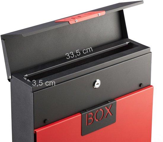 relaxdays brievenbus edelstaal - afsluitbaar - krantenrol - A4 formaat - wandbrievenbus rood