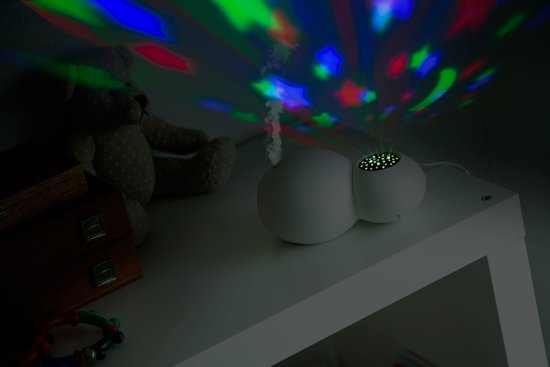 Alecto Baby BC-21 Luchtbevochtiger en projector - Ultrasoon / koeldamp technologie - Sterrennacht projector - wit