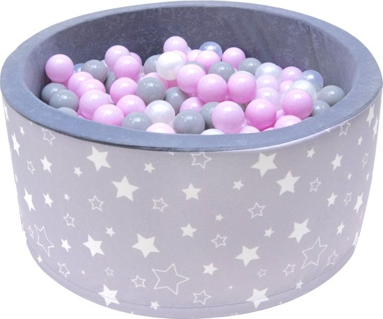 Ballenbak | Grijs met witte sterren incl.  200 witte, grijze en roze ballen