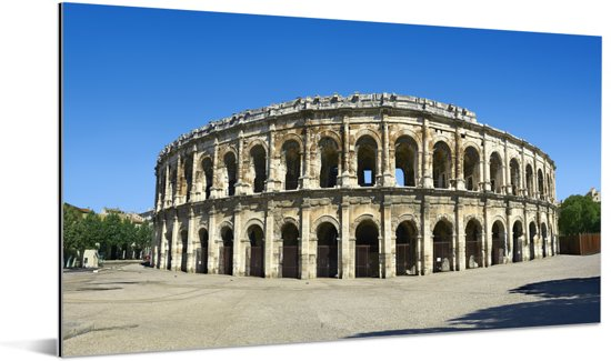 Panorama van de arena in de Franse stad Nîmes Aluminium 160x80 cm - Foto print op Aluminium (metaal wanddecoratie)