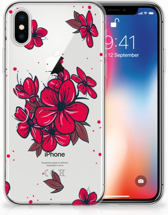 iPhone X | Xs TPU-siliconen Hoesje Design Blossom Red