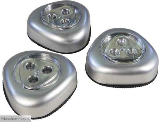 Zelfklevende Led Lampen : Bol led zelfklevende druklampen zilver