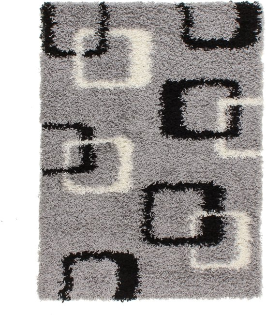 Gunstig Hoogpolig Vloerkleed met Abstract Print -  120X170 cm  - Grijs Zwart