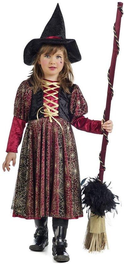 Heks & Spider Lady & Voodoo & Duistere Religie Kostuum | Spinnenweb Heks Sabrina | Meisje | Maat 146 | Halloween | Verkleedkleding