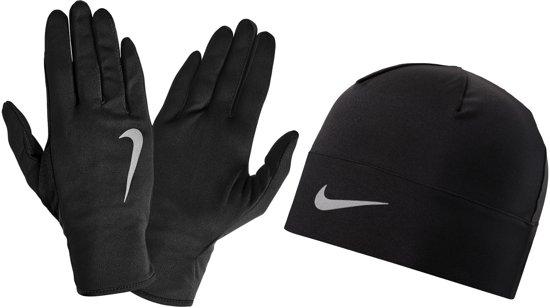 43d2b3d9410 Nike Dry Hardloop Muts/Handschoenen Set Hardloophandschoenen - Mannen -  zwart/zilver