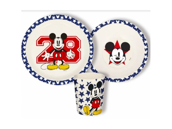 Mickey mouse  3-delige Bamboo ontbijtset