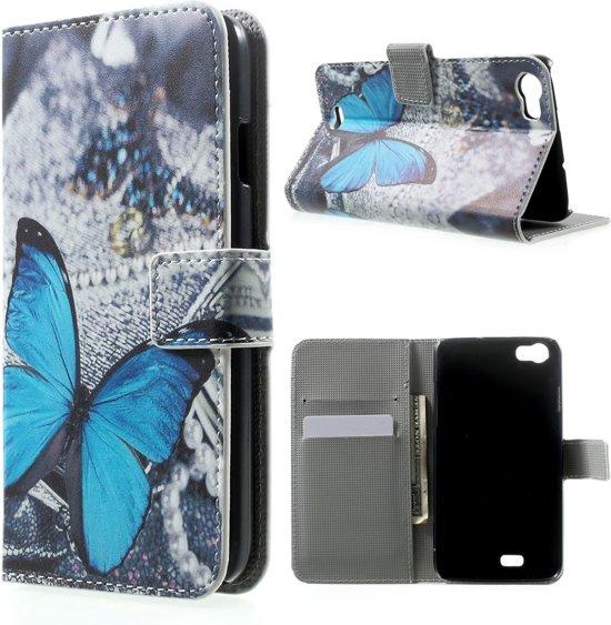 Wiko Lenny Hoesje Vlinder Blauw (Wallet Stand Case) in Heide
