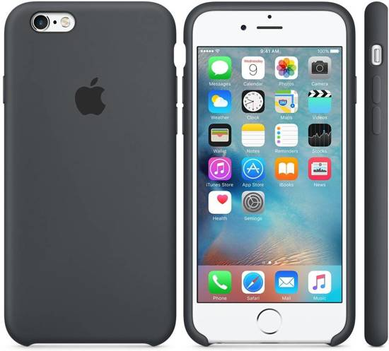 b6bee4f4f1491b Apple Siliconen Back Cover voor iPhone 6 6s - Donkergrijs