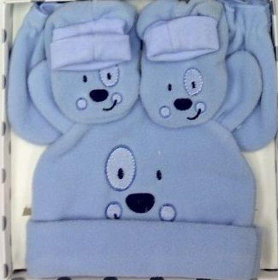 kraamcadeau - baby cadeaudoosje met muts, wantjes en slofjes - Keep me happy & warm - blauw