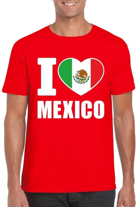 Rood I love Mexico supporter shirt heren - Mexicaans t-shirt heren 2XL