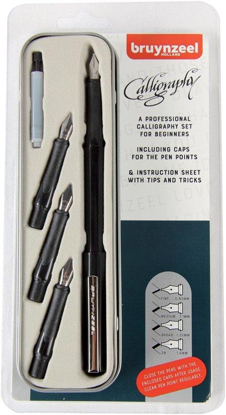 Bruynzeel  Beginner Set 8 Kalligrafiepennen  + Kalligrafie Boek voor Beginners