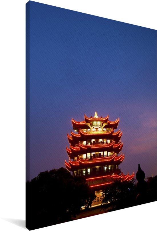 Verlichting van de kraantoren in Wuhan Canvas 90x140 cm - Foto print op Canvas schilderij (Wanddecoratie woonkamer / slaapkamer) / Aziatische steden Canvas Schilderijen