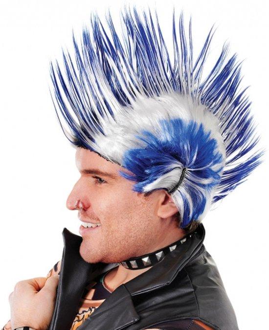 Punker hanekam pruik blauw en wit