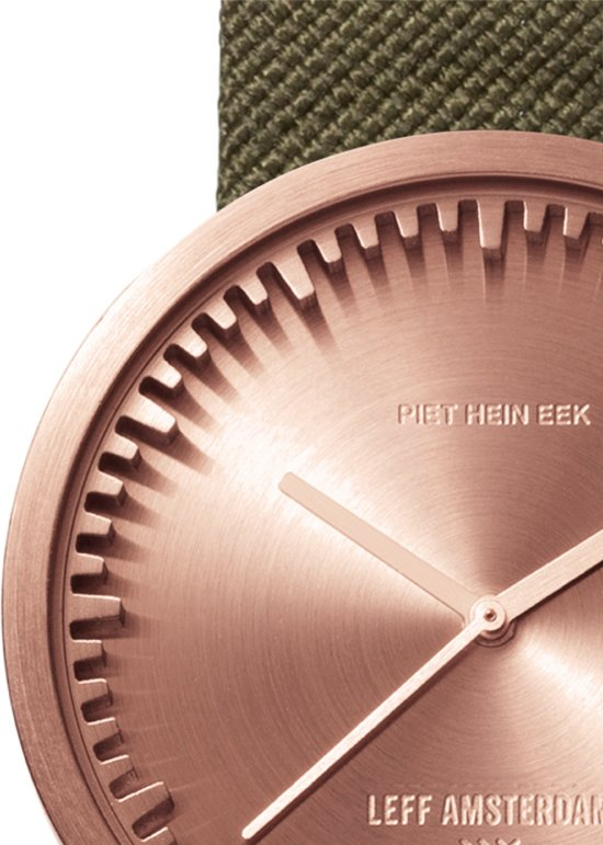 LEFF amsterdam tube watch D38 rose gold / green nylon-leather strap