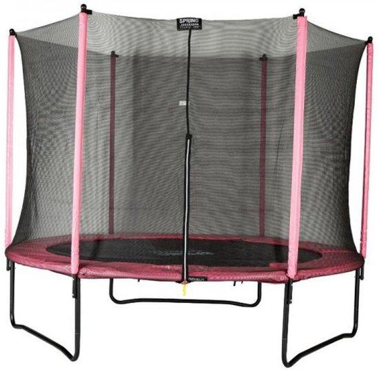 SPRING Trampoline 305 cm (10ft) met veiligheidsnet - Black Edition - roze rand