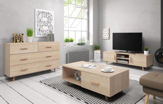 Tv Meubel Met Salon Tafel.Woonkamer Set Hout Scandinavisch Inclusief Tv Meubel Dressoir Salontafel