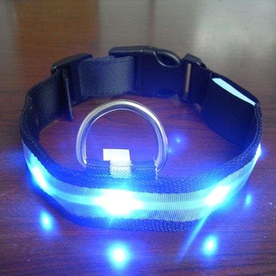 nylon honden halsband met led verlichting l large blauw licht