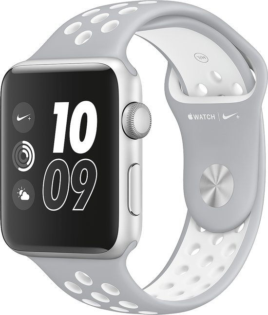 Siliconen Horloge Band Voor Apple Watch Series 1/2 Nike+ - iWatch Armband / Polsband / Strap Bandje / Sportband Watchband - 42MM Wit/Grijs