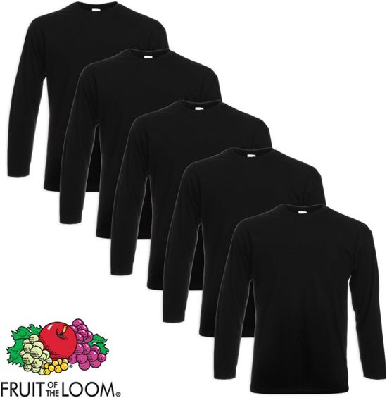 Value Zwart S Loom 5 T Of Longsleeve Weight The shirt Fruit EIeD9YWH2