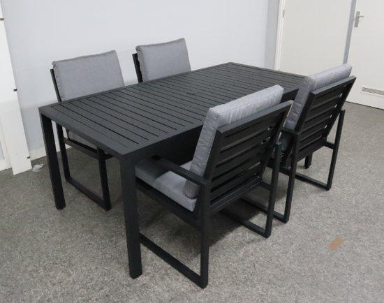 Tuinset Miami aluminium incl.4 Tuinstoelen Miami aluinium black
