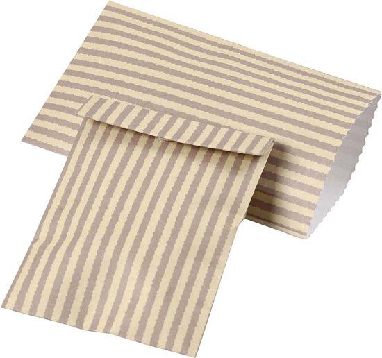 bol   papieren zakjes klein 6 x 10,5 cm, 20 stuks, creme/taupe