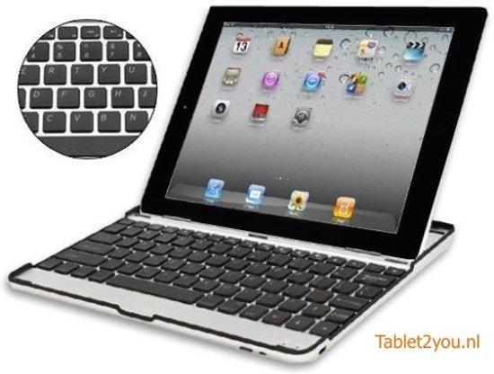 Tablet2you Apple iPad Air 2 toetsenbord in aluminium Hoes met zwarte toetsen