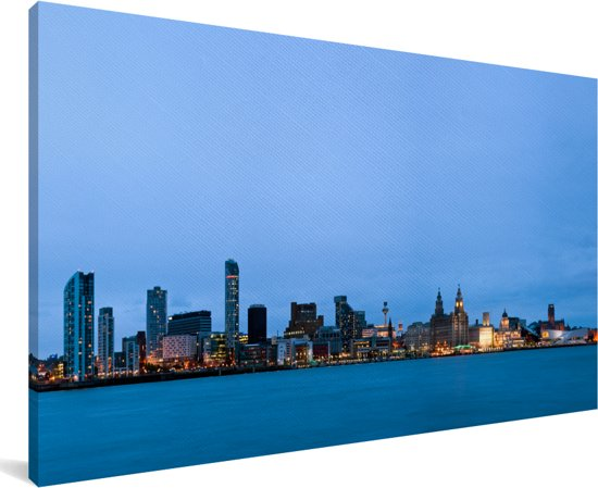 De iconische skyline van het stadscentrum van Liverpool in Engeland Canvas 40x20 cm - Foto print op Canvas schilderij (Wanddecoratie woonkamer / slaapkamer) / Europese steden Canvas Schilderijen