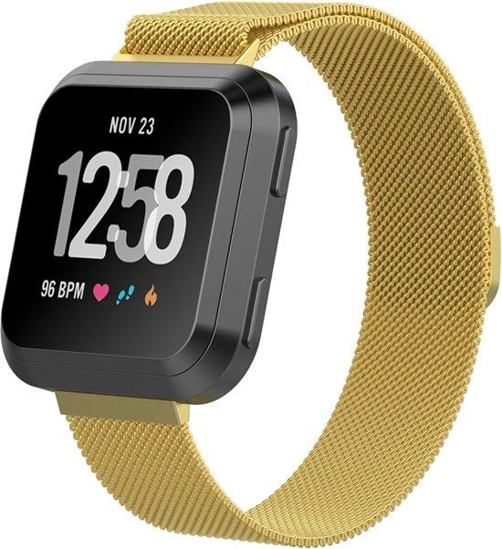 Milanese Loop Armband Voor Fitbit Versa 1/2 & Lite Band Strap - Milanees Armband Polsband - Large - Goud Kleurig