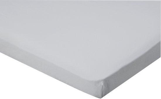 Senzatione Katoensatijn Topdek / Topper Hoeslaken 090x220+15 cm Zilver Grijs 06