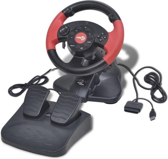 vidaXL Gaming stuurwiel voor PS2/PS3/PC rood kopen