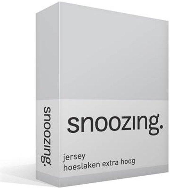 Snoozing Jersey - Hoeslaken Extra Hoog - 100% gebreide katoen - 80/90x200 cm - Grijs