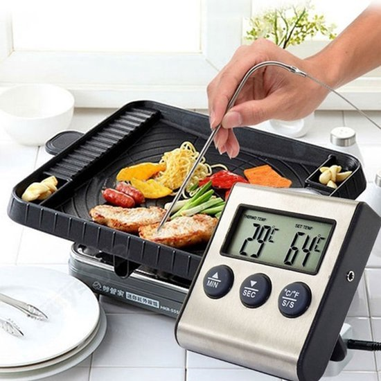 Digitale Voedselthermometer & Timer - Kookthermometer / Vleesthermometer / Oven Thermometer / Kernthermometer / BBQ Thermometer