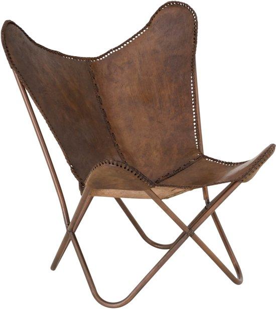 kare design lounge stoel butterfly bruin leer