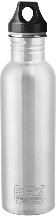 360° degrees - SS Bottle 750ml - Drinkfles - Silver - Roestvrij staal / RVS - Waterfles