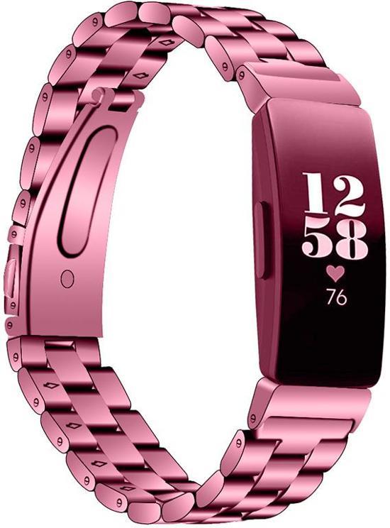KELERINO. Metalen bandje voor Fitbit Inspire (HR) - Schakel - Roze