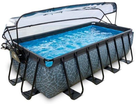 EXIT zwembad Stone 400x200cm met overkapping en zandfilterpomp - grijs