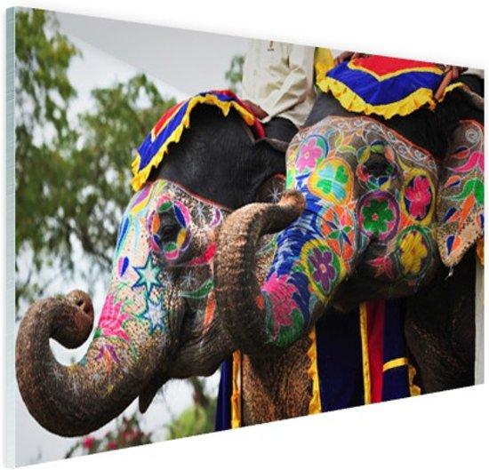 Twee beschilderde olifanten Glas 30x20 cm - Foto print op Glas (Plexiglas wanddecoratie)