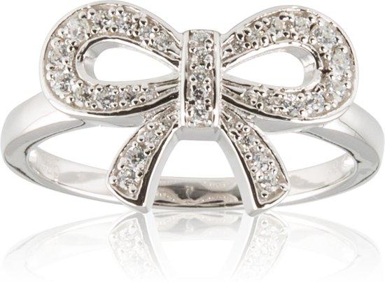 Lovenotes ring - zilver - strik - zirkonia - gerodineerd - maat 52