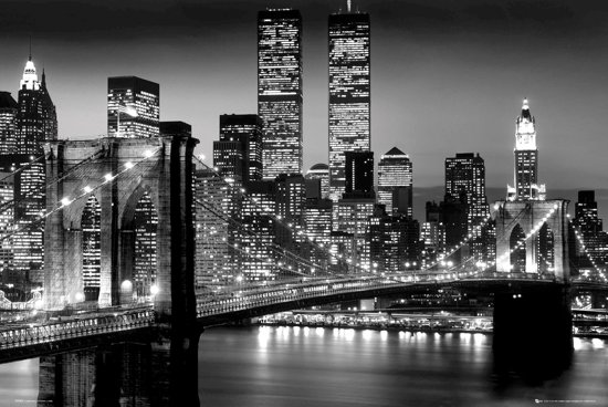 Poster New York-Manhattan-skyline-nacht-Brooklyn Bridge-(61x91.5cm)