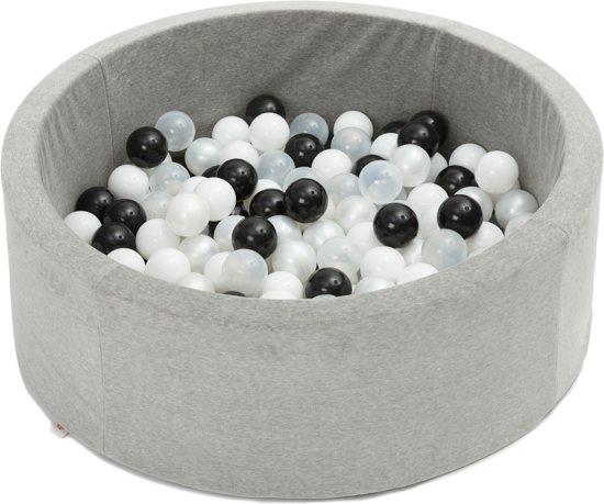 FUJL - Ballenbak - Speelbak - Lichtgrijs - ⌀ 90 cm - 200 ballen - Kleuren - Zwart - Parel  -Wit - Transparant