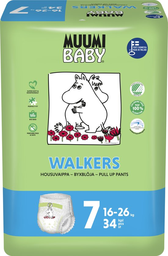 Ecologische Muumi Baby Luierbroekjes maat 7 - 16-28 kg.