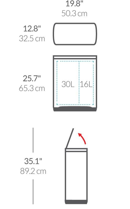 Simplehuman Rectangular Classic GFT Kunststof Deksel 30 + 16 Liter