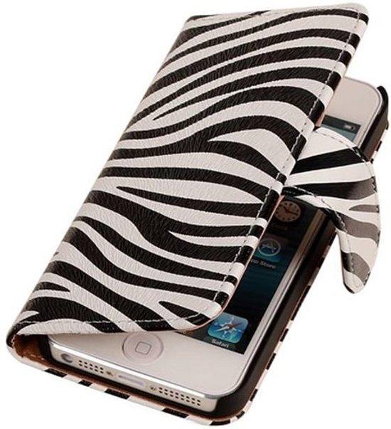 Bookcase Flip Cover Wallet Hoesje Apple iPhone 5C Zebra in Valburg