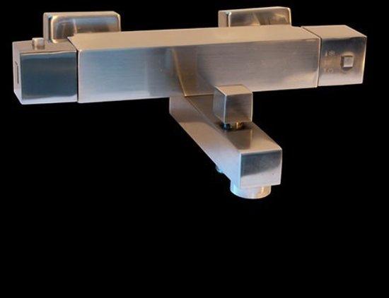 Badkraan Crystal 15cm Hartafstand Thermostatisch Opbouw Vierkant RVS Look 2 Greeps met Onderuitloop