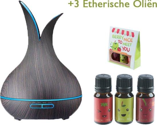Aroma Diffuser met 3 Etherische oliën | Luchtbevochtiger| Vernevelaar| UFO | Hout look - zwart|Set van 3 etherische oliën