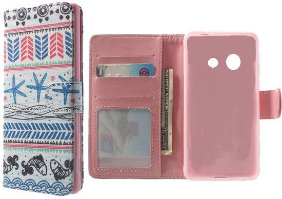 Tribal Dark Blue wallet hoesje Samsung Galaxy ace Style G310