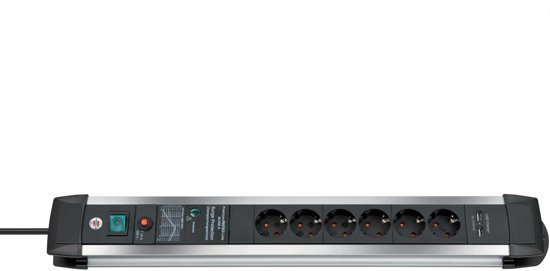 Brennenstuhl Premium-Protect-Line 6-voudige stekkerdoos met overspanningsbeveiliging + 2x USB - 3 meter